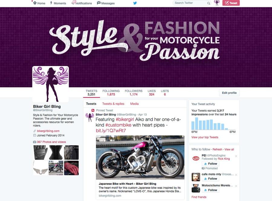 Biker Girl Bling Twitter Cover